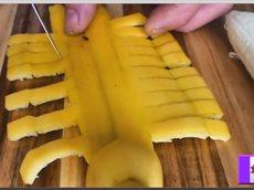 Интересная нарезка банана. Украшение праздничного стола.